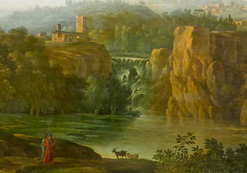 Hendrik Frans Van Lint (1684-1763)-attributed, Large classical Landscape with figures visiting a waterfall , Oil on Canvas, in classicistic frame - photo 3