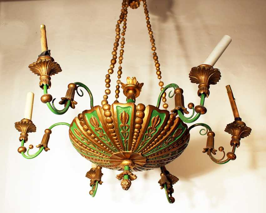 6 light chandelier, wood carved , bronze mounts, painted 19. century - photo 1