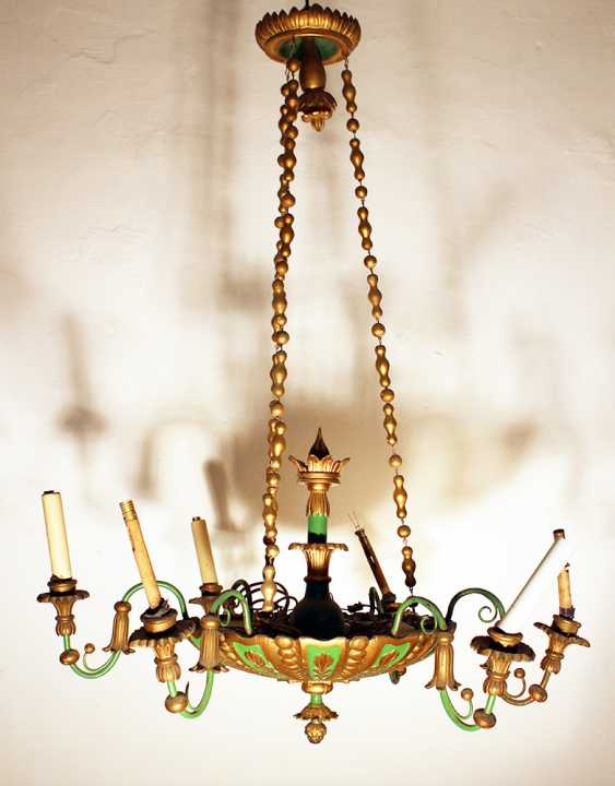 6 light chandelier, wood carved , bronze mounts, painted 19. century - photo 2