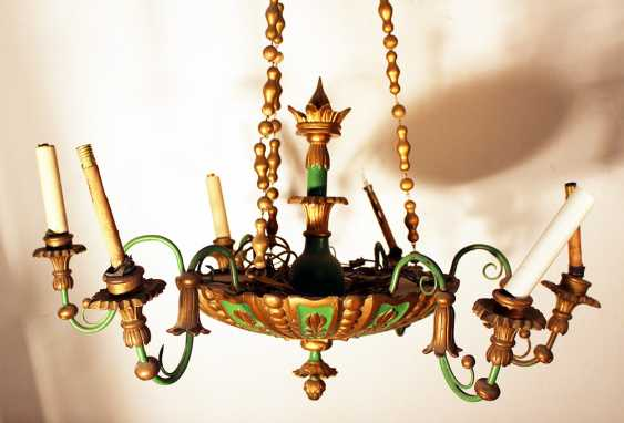 6 light chandelier, wood carved , bronze mounts, painted 19. century - photo 3