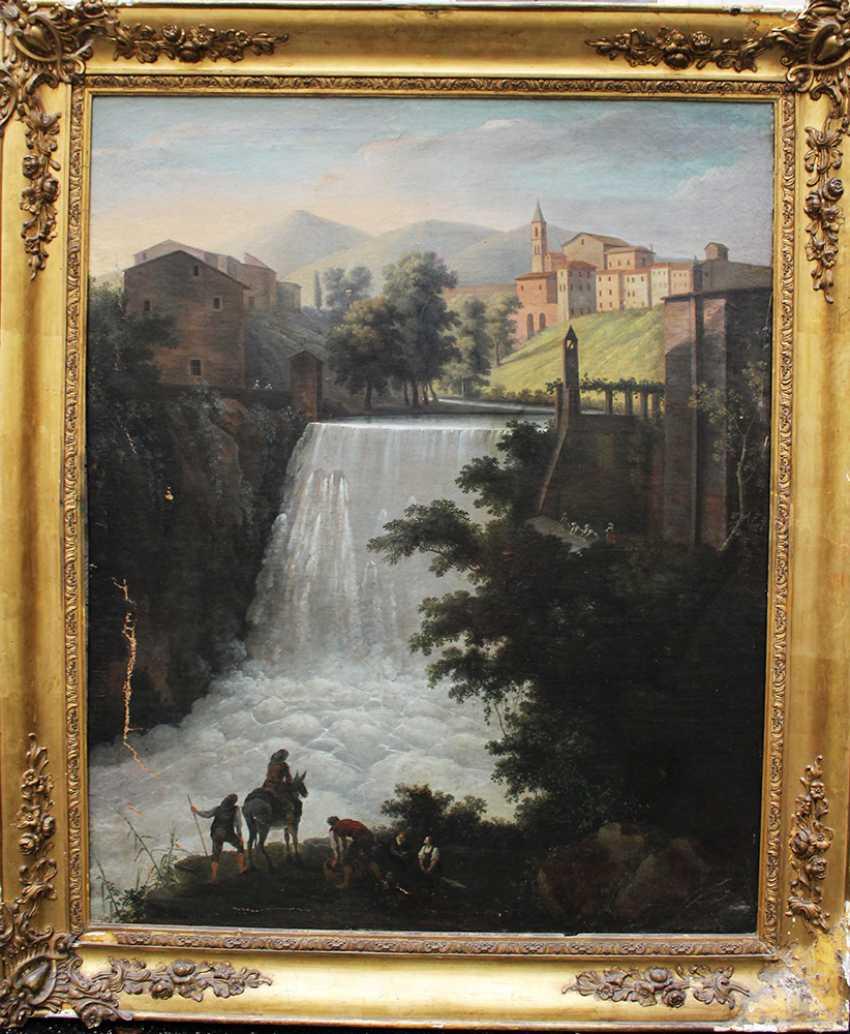 Italian Artist around 1800, waterfall, oil canvas, framed - photo 1