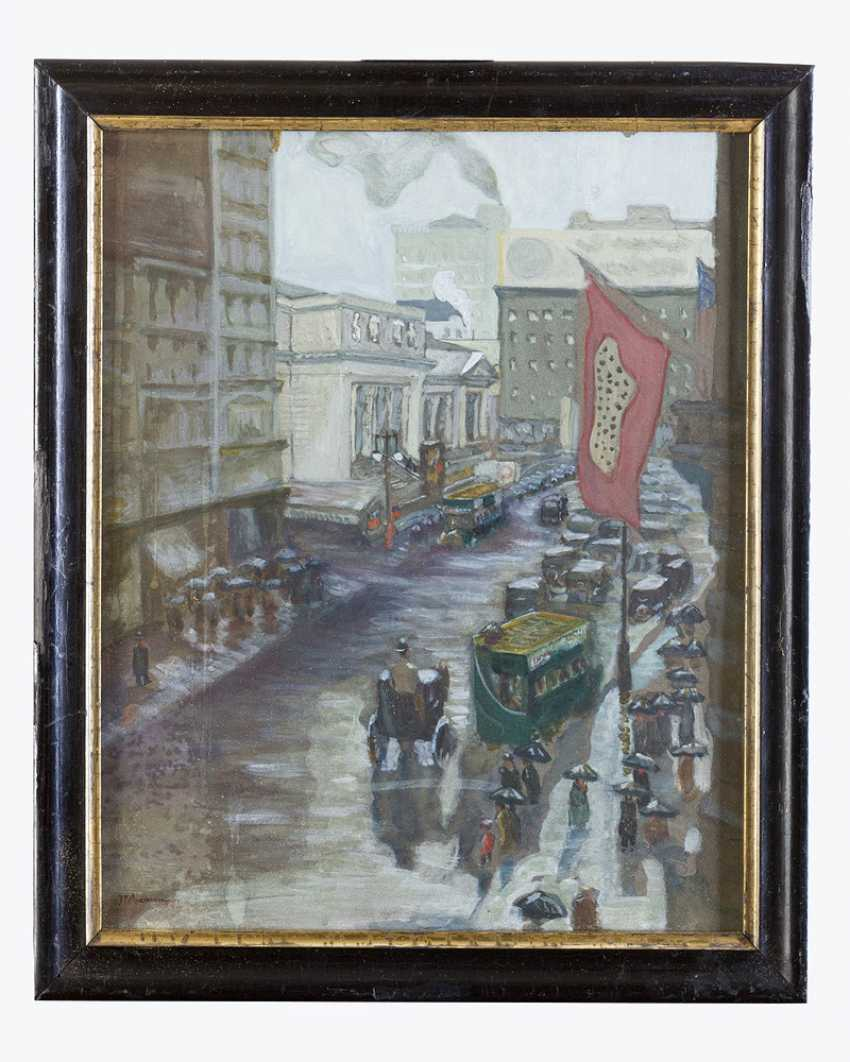 American artist around 1900, fifth Avenue, watercolour on paper, signed framed - photo 1