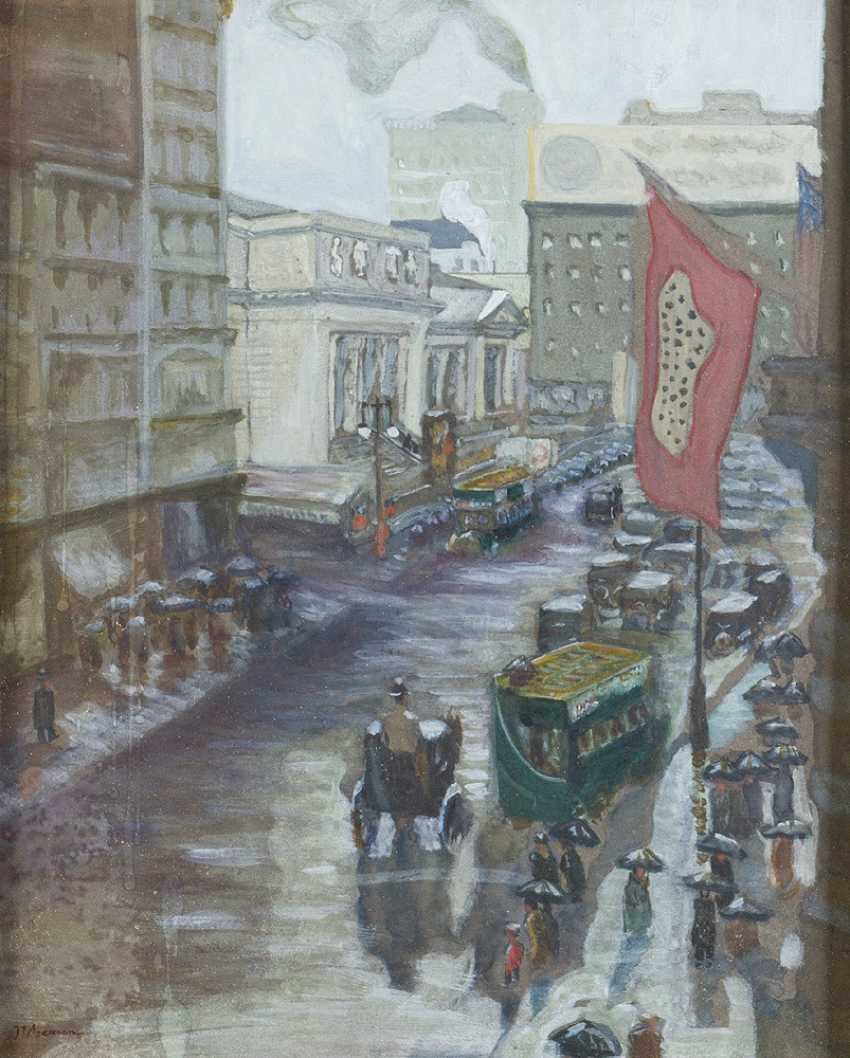 American artist around 1900, fifth Avenue, watercolour on paper, signed framed - photo 2