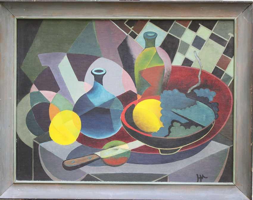 Cubiste, vers 1930, huile sur toile, encadrée, monogramme - photo 1