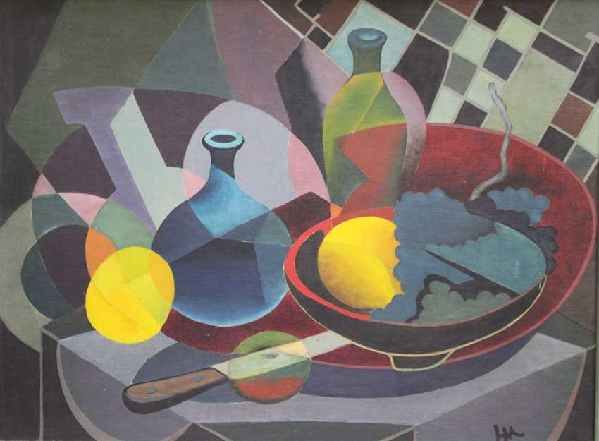 Cubiste, vers 1930, huile sur toile, encadrée, monogramme - photo 2