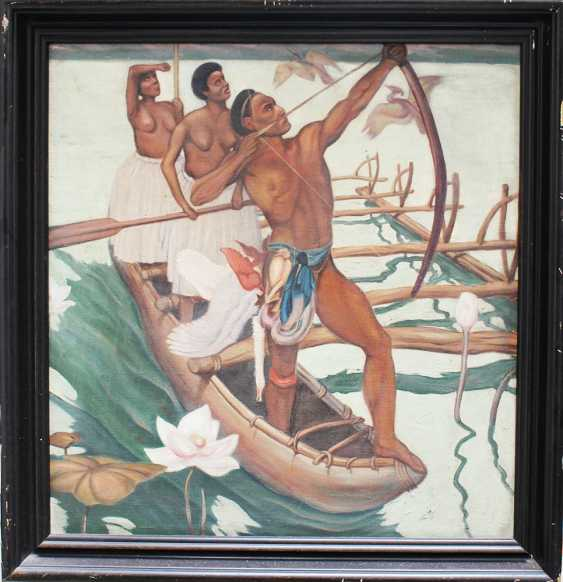 Artist 20.century, Hunters, oil canvas, framed - photo 1