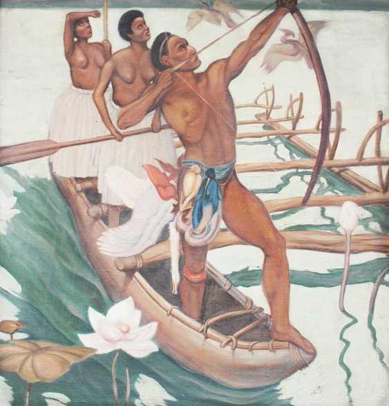 Artist 20.century, Hunters, oil canvas, framed - photo 2