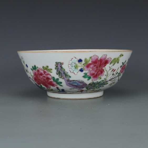 Qing Dynasty Pastel painting Peacock bowl - photo 1