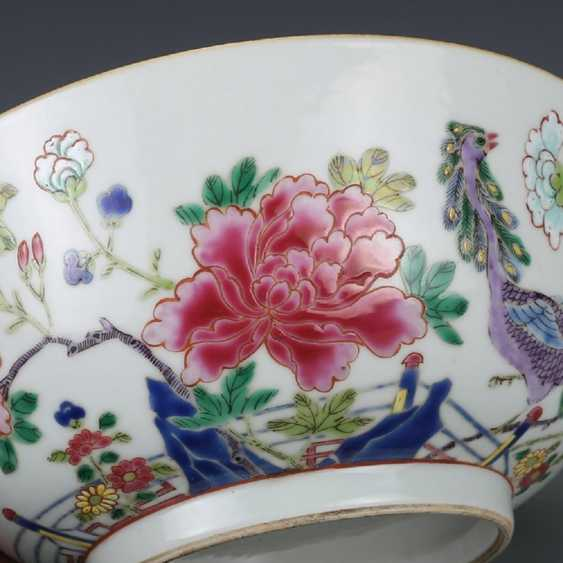 Qing Dynasty Pastel painting Peacock bowl - photo 3