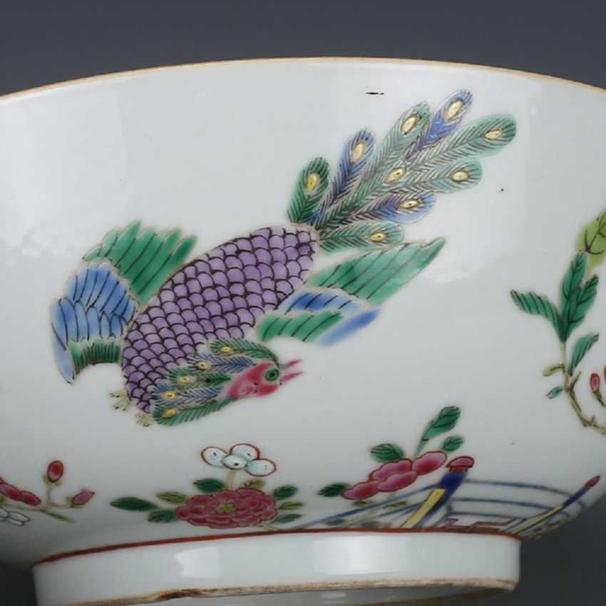Qing Dynasty Pastel painting Peacock bowl - photo 5