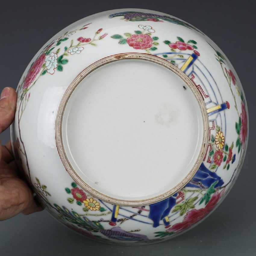 Qing Dynasty Pastel painting Peacock bowl - photo 7