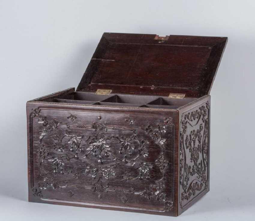 China 19th century Rosewood carving box - photo 4