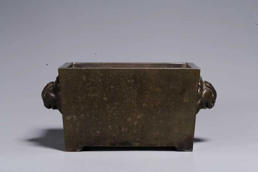 Ming Dynasty copper double lion ear horse trough incense burner - photo 1
