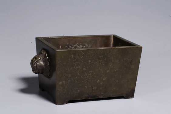 Ming Dynasty copper double lion ear horse trough incense burner - photo 3