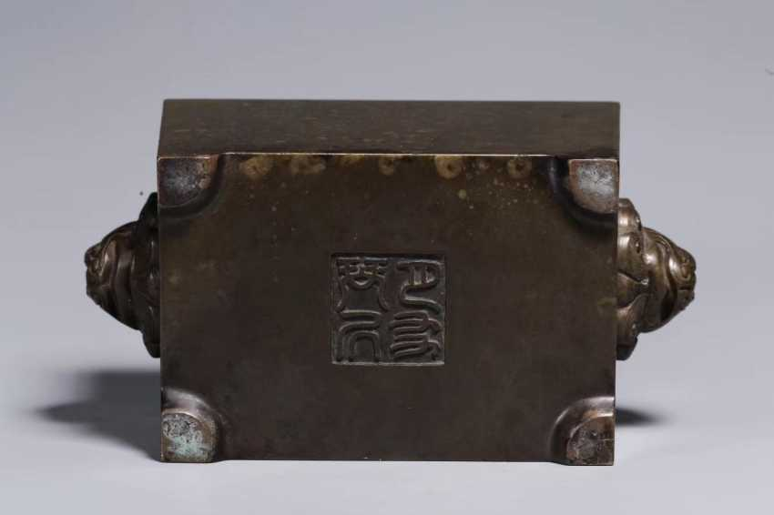 Ming Dynasty copper double lion ear horse trough incense burner - photo 8