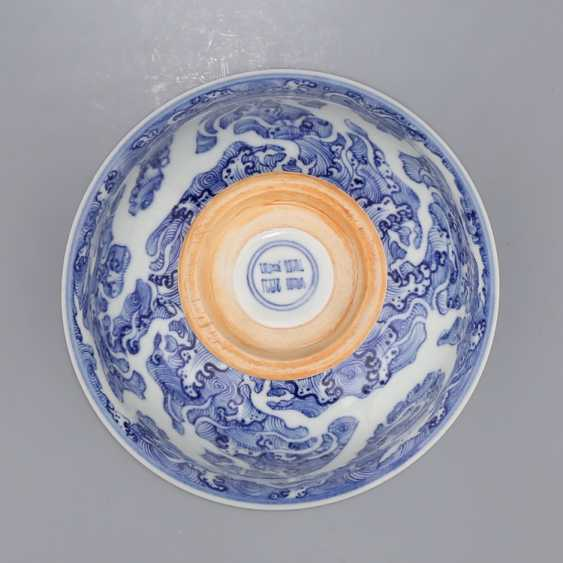 Ming Dynasty blue and white porcelain sea water double dragon bowl - photo 12