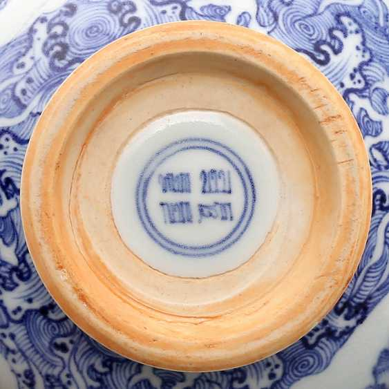 Ming Dynasty blue and white porcelain sea water double dragon bowl - photo 14