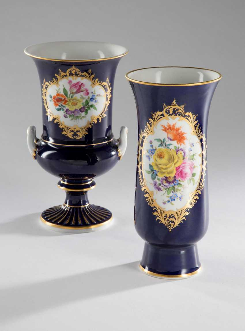 Vase Meissen Flower Painting, - photo 1