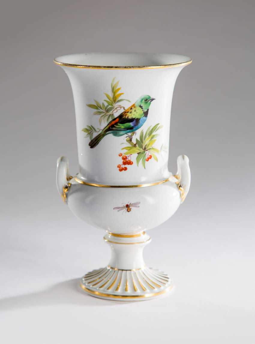 Vase Meissen Bird Painting, - photo 1