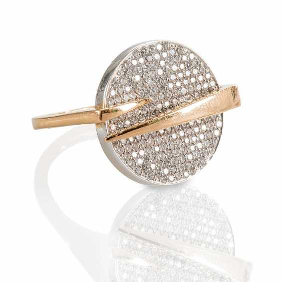 Rose gold Ring with diamonds, - photo 1