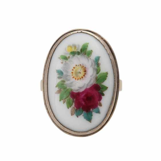 Bague dame plaquées Ringkopf avec décor floral émaillé, Silberfassung! RW.: - photo 1
