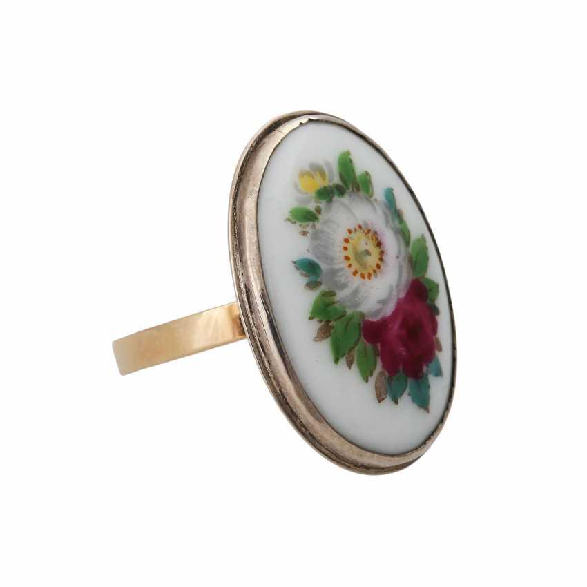 Bague dame plaquées Ringkopf avec décor floral émaillé, Silberfassung! RW.: - photo 2