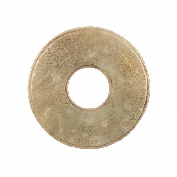 Bi-disk made of Jade. CHINA, probably Han-dynasty (206 BC to 220 ad). - photo 1