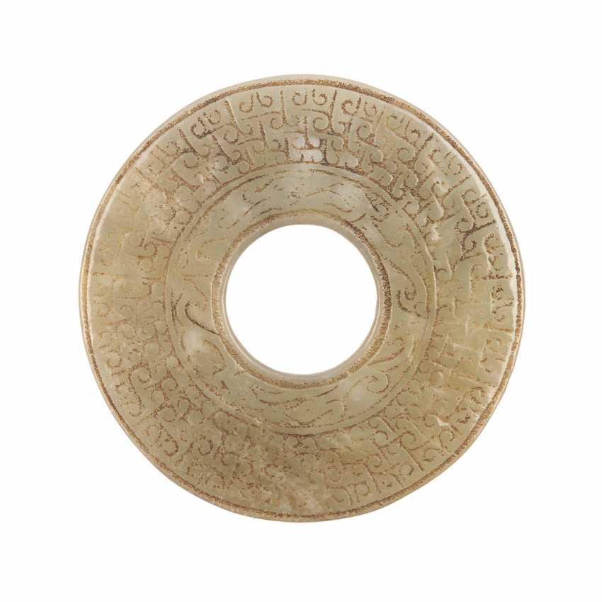 Bi-disk made of Jade. CHINA, probably Han-dynasty (206 BC to 220 ad). - photo 2