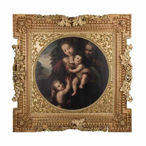 """FLORENTINER MEISTER, Italien 16./17. Jahrhundert, Umkreis/Nachfolge RAFFAEL, """"Heilige Familie mit Johannesknaben"""", - Foto 1"""