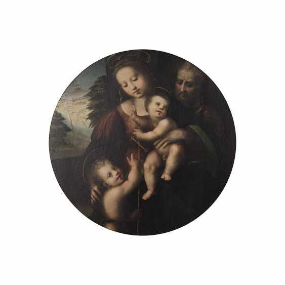 """FLORENTINER MEISTER, Italien 16./17. Jahrhundert, Umkreis/Nachfolge RAFFAEL, """"Heilige Familie mit Johannesknaben"""", - Foto 2"""