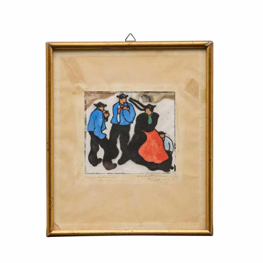"""GURSCHNER, HERBERT (1901-1975, Tiroler Künstler), """"Tirolerin mit Kind an zwei Herren vorbeischreitend"""", - Foto 1"""