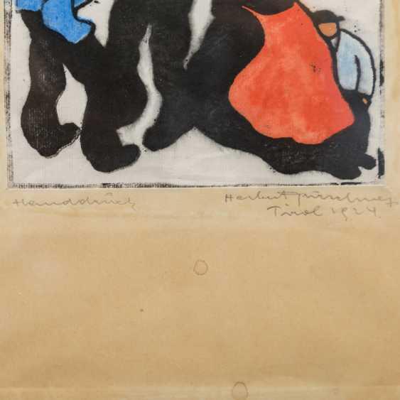 """GURSCHNER, HERBERT (1901-1975, Tiroler Künstler), """"Tirolerin mit Kind an zwei Herren vorbeischreitend"""", - Foto 2"""