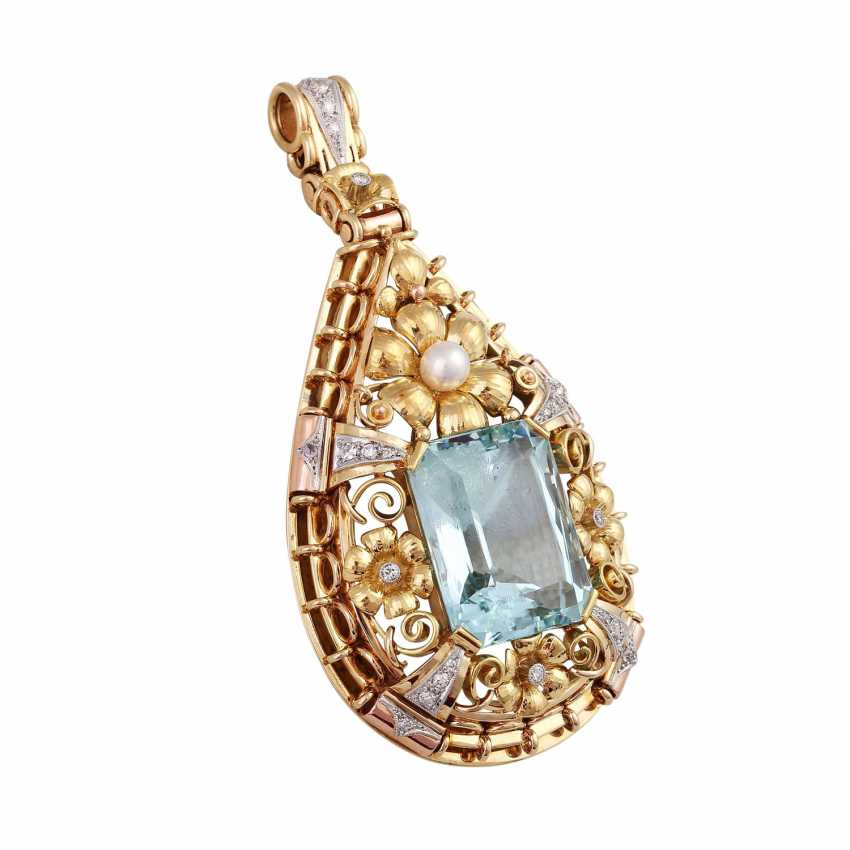 Pendant with aquamarine, approx. 33 ct., cultured pearl and diamonds - photo 2
