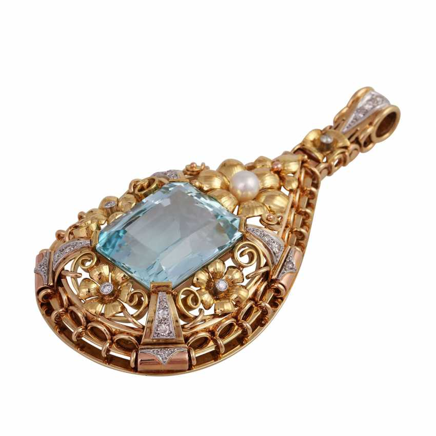 Pendant with aquamarine, approx. 33 ct., cultured pearl and diamonds - photo 3