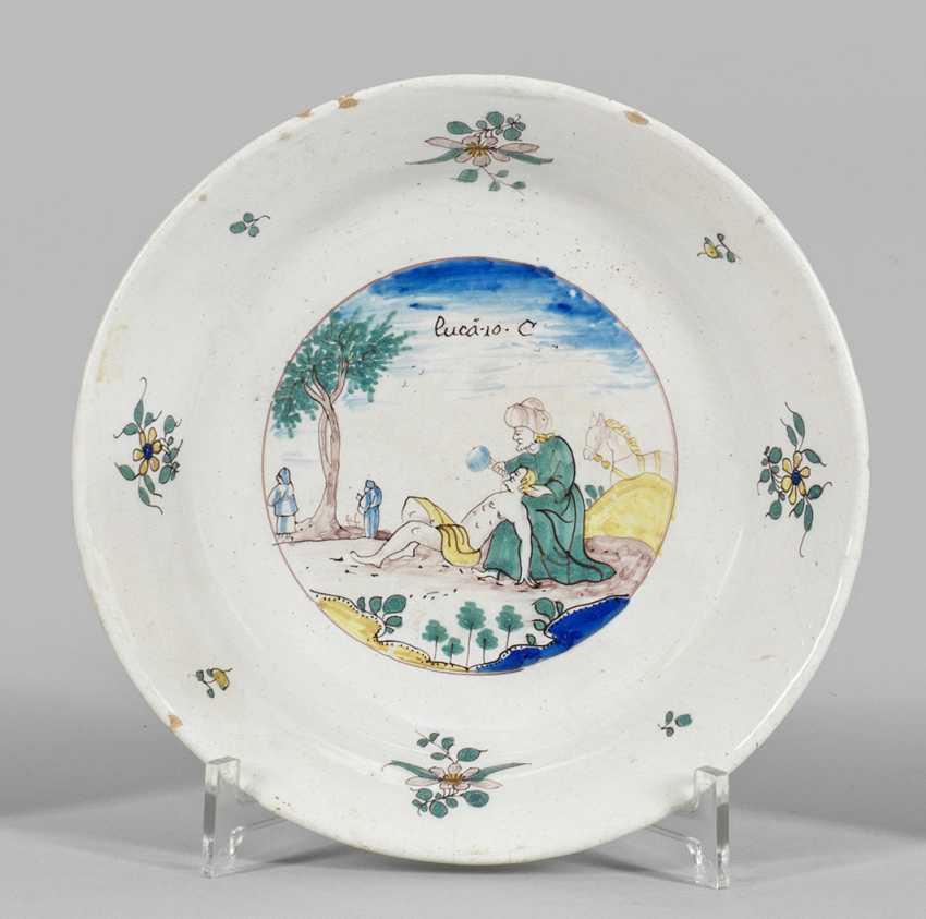 Реже малая тарелка Фаянс сцены с Библии - фото 1