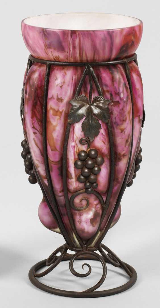 Большой арт деко ваза с коваными железной монтировкой - фото 1