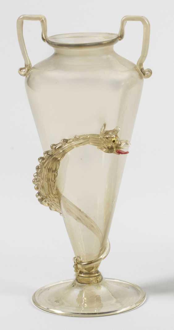 Редкие Fratelli Toso-двойной ручкой ваза с драконами - фото 1
