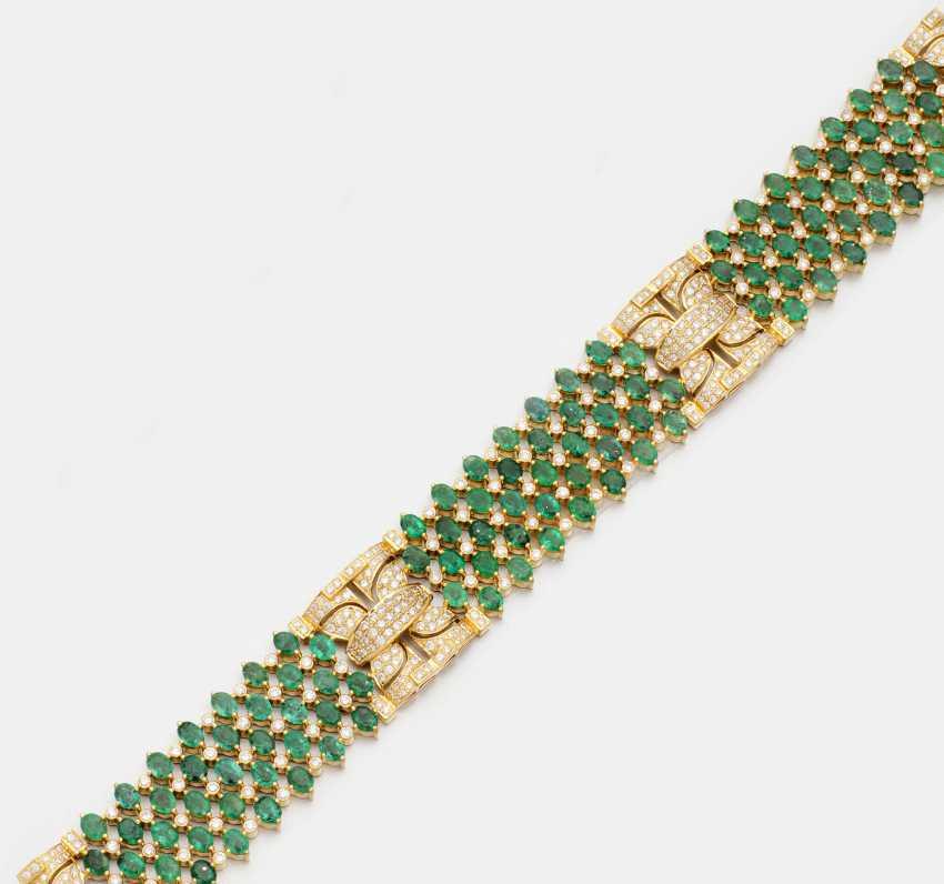 Элегантный жемчужина браслет с изумрудами - фото 1