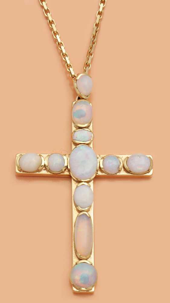 Крест кулон с опалами - фото 1