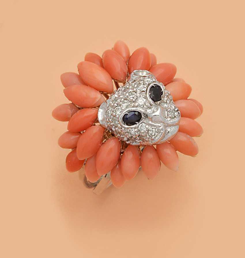 Panther голова кольцо с Ангел кожи Коралл - фото 1