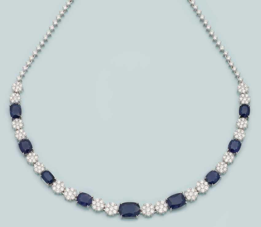 Элегантный алмаз Бирма ожерелье с сапфирами - фото 1