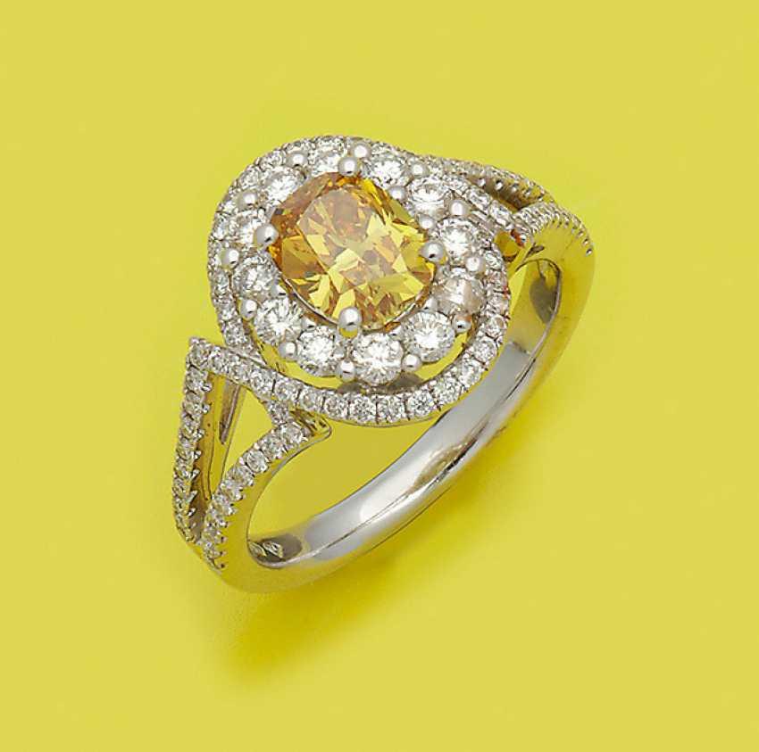 Hochqualitätvoller Необычные-Яркие-Желтый Diamantring - фото 1
