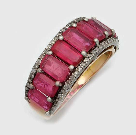 Российская лента кольцо с рубинами - фото 1