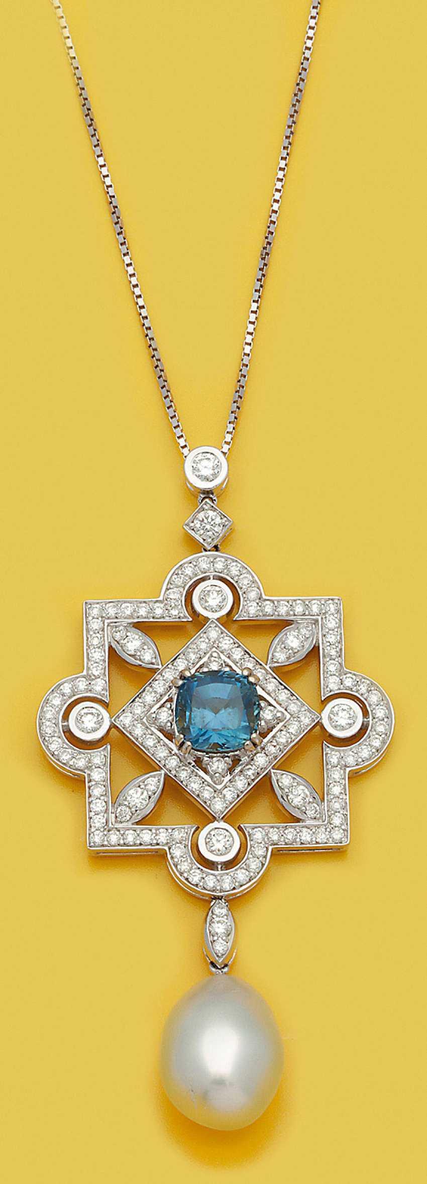 Показательных сапфир бриллиант кулон с жемчужиной южных морей - фото 1