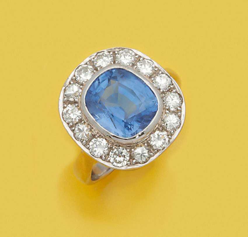 Классический васильковый синий сапфир кольцо - фото 1