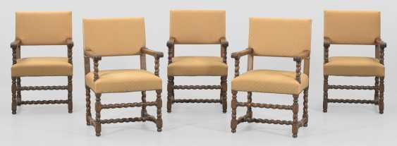 Набор из пяти подлокотниками стулья в стиле барокко - фото 1