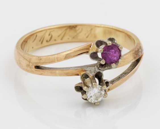 Рубин алмаз кольцо из 20-х годах - фото 1