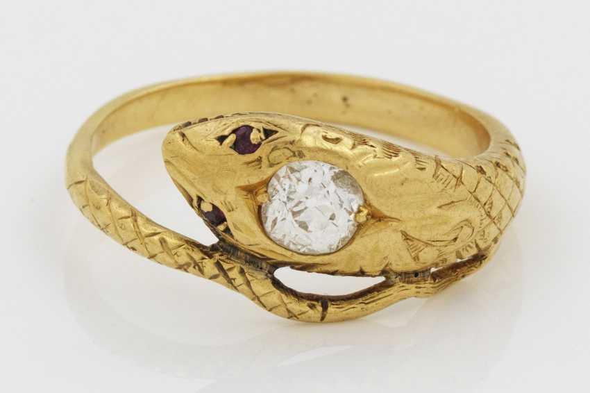 Biedermeier-snake ring with diamond rose - photo 1