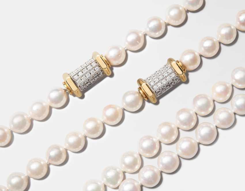 Akoya Cultured Pearl And Diamond Sautoir