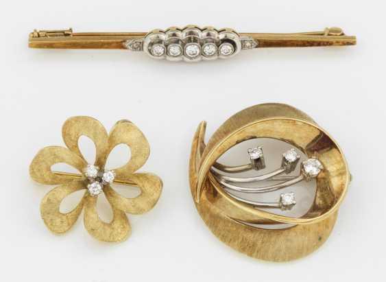 Три алмаза броши из 50-х годов - фото 1